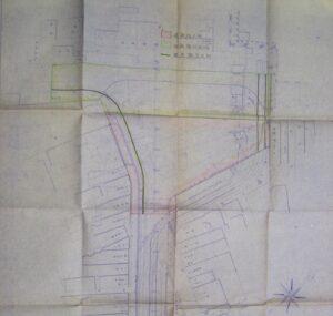 電車ホームおよび貨物線の配置図